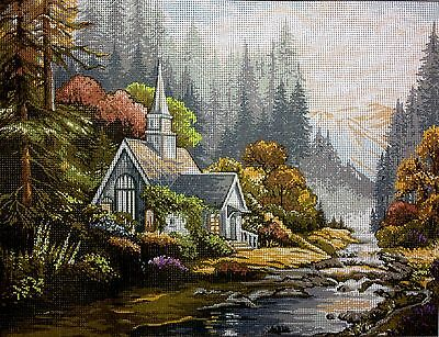 "Gobelin Tapestry Needlepoint Kit Kinkade ""The church"" printed canvas 222"