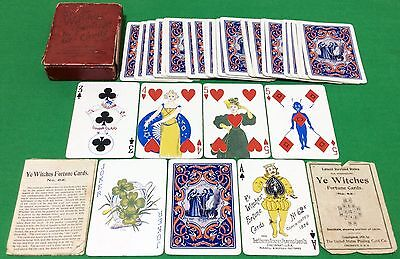 Antique 1896 PLAYING CARDS - USPC Wide YE WITCHES FORTUNE TELLING Transformation