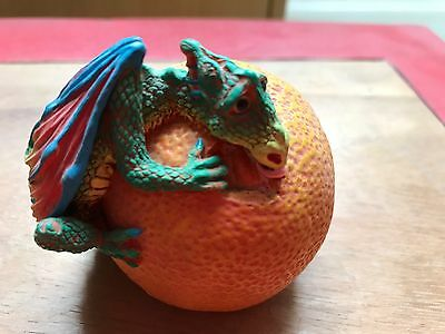Rare Carol  Lynn Penny Genesis Creations Dragon Sitting On An Orange