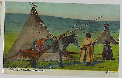 """Postcard  Vintage Native Americana - Woman W/ Horse-Teepees -""""indian Territory"""""""