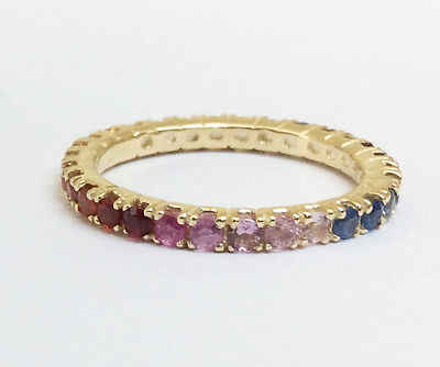 s R122 Genuine 9K Yellow Gold Natural Rainbow Sapphire Full Eternity Ring size 7