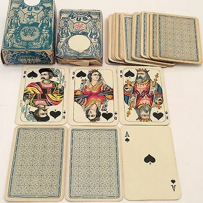 Boxed 2 Decks ANTIQUE c1900 C.L. WUST * HOUSE PATTERN 3 * PLAYING CARDS  Wrapper