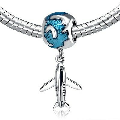 S925 Silver EURO Travel Aeroplane Plane World Charm - FREE Pandora Cloth