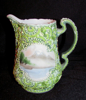 Antique Japanese Moriage Cream Pitcher Nippon Circa 1920