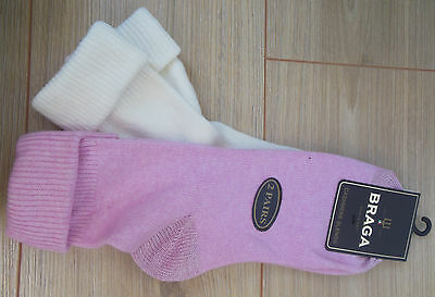 Braga Made in Italy women girl cashmere blend socks 2 pairs one size BNWT