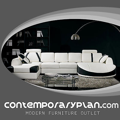 Miami Contemporary Leather Sectional Sofa Set Curved Modern Design