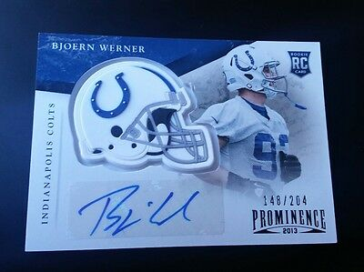 Bjoern Werner Rookie #148 /204 Panini Prominence 2013 Autograph Helmet Colts