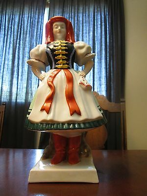 """Vintage Large Herend Lady Maiden 12 1/8"""" Hungary Porcelain Hand Painted"""