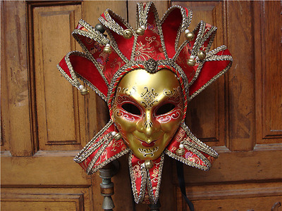 Full Face Venetian Fabric Masquerade Theater Jester Mask [Red /Gold] New