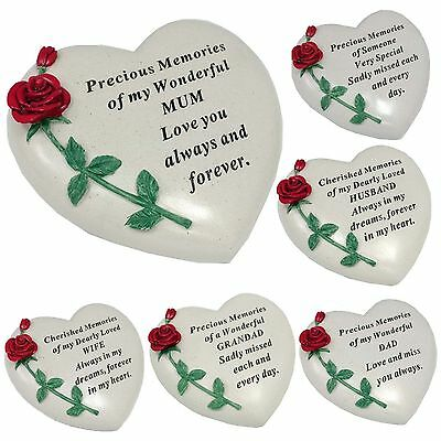 Large Memorial Resin Red Rose Flower Heart Stone Garden Ornaments Graves Plaques