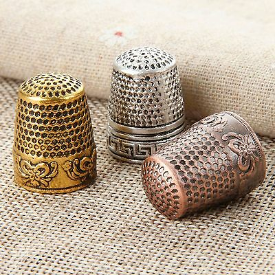 2pcs Metal Protector Needle Pins Thimbles Embroidery Stitch Sewing Finger Shield