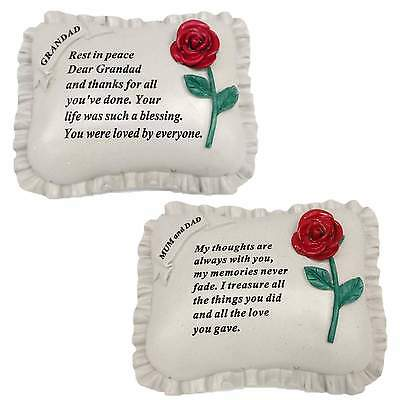 Large Memorial Resin Red Rose Flower Pillow Stones Garden Ornaments Grave Plaque