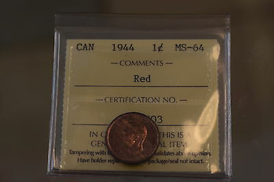 ICCS Graded 1944 Canadian 1 Cent Coin, MS 64, Red