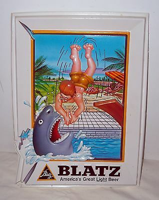 """Blatz Beer Plastic Diving to a Shark Advertising Sign - 9.5"""" x 13"""" - VERY NICE!"""