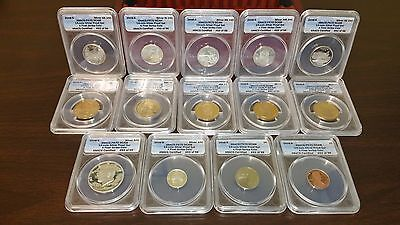 2008-S 14 Coin Silver Proof Set ANACS PR70 DCAM w/Collector's Box, First Strike!