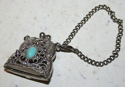 Vintage Hinged Child's Miniature Coin Purse Metal w/ Faux Turquoise Stones