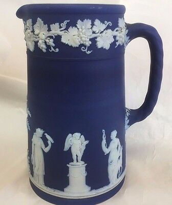 "Wedgwood Royal Blue  Jasperware Pitcher Jug 6 1/4"" Sacrifice"