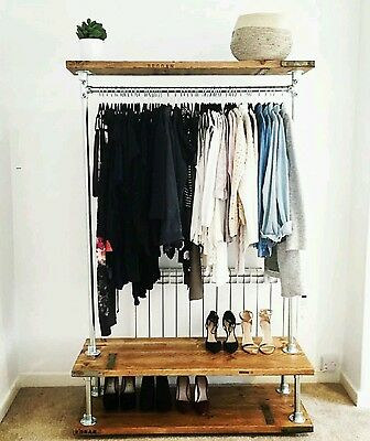 Vintage industrial clothes rail with storage shelves. 1.5m