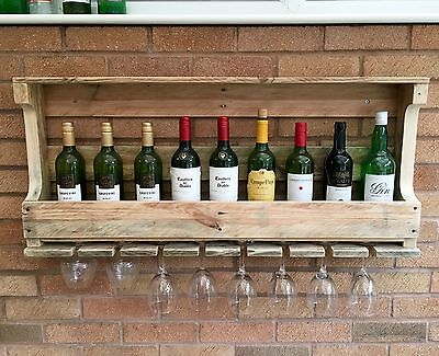 Rustic Wooden Wine Rack & Shelf - Wall Mounted