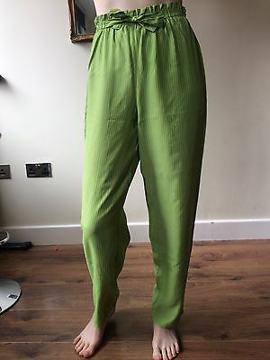 Vintage Lime Green Pinstripe High Waist Trousers Wide Leg Xs 6