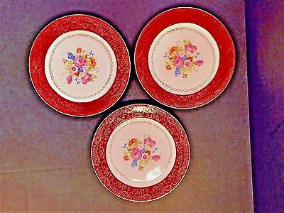SOUTHERN POTTERIES,INC  3 Plates warranted gold 22Kt