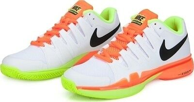 Nike Zoom Vapor 9.5 Tour tennis shoes - white, orange & volt UK 8