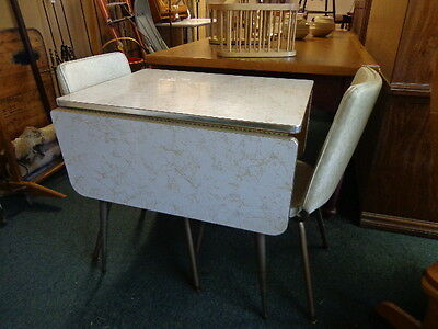 Antique 1940s Drop-leaf Formica Table+2 chairs So Cute! Estate Buyout DEL AVAIL