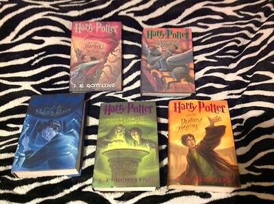 Harry Potter Hardcover Lot Of 5. Chamber. Azkaban. Phoenix. Half blood Hallows