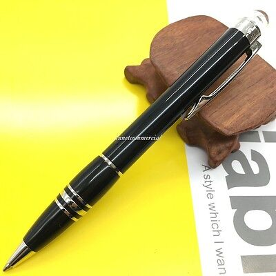 Midnight Black Resin Ballpoint Pen with silver trim New