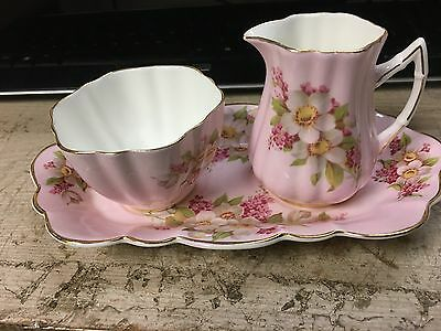 Old Royal Bone China Creamer And Sugar Set With Serving Tray England Est 1846