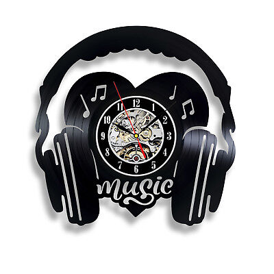 Instruments Black Music Notes Exclusive Viny Wall Clock Art Home Decor Gift