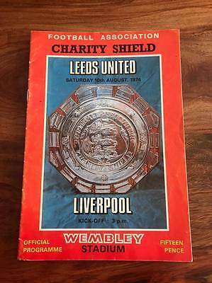 Leeds United V Liverpool1974 Fa Charity Shield Programme Free Post Look