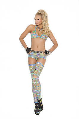 Elegant Moments Rave Dancer 3 Piece Geometric Multicolor Bra, Shorts, & Thigh Hi
