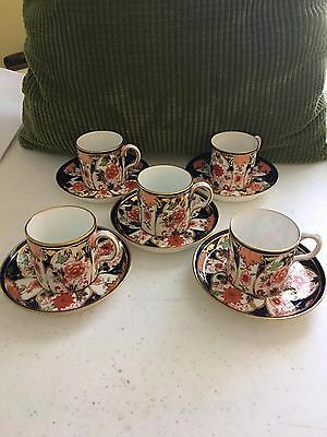 (5) Royal Crown Derby Imari 6041 Demitasse Cups/Coffee Cans and Saucers