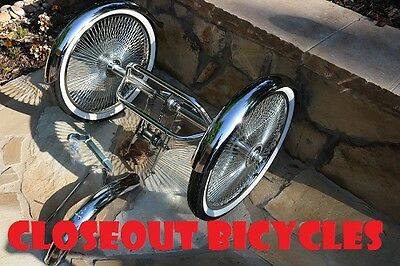 "20/"" 24/"" 26/"" Hollow Trike Tricycle Conversion Kit 2 Rear /& 1 Front Fender Chrome"