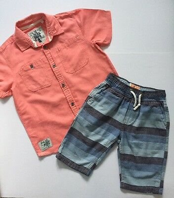 Boys Summer Outfit Set Short Sleeve Shirt And Striped Shorts NEXT Age 8 Years