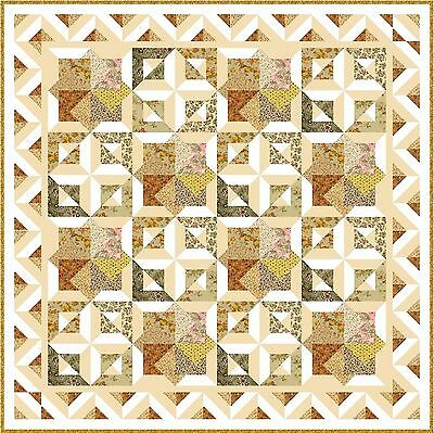 "GARDEN OF EDEN - 64"" - Pre-cut Patchwork Quilt Kit by Quilt-Addicts Double size"