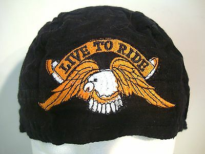 LIVE TO RIDE Skull Cap Doo Rag Bandana Black Embroidered One Size Dorag Wrap