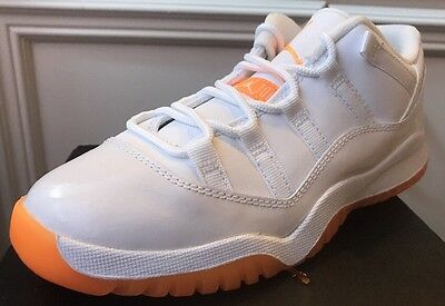 5e59936084b9 New Nike Air Jordan Retro 11 Low GP XI 580522-139 White Citrus Orange Youth