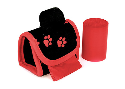 Doggie Walk Bags DWB-80626 2-Roll Designer Bags, Red Paw/Red/Floral