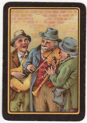 Playing Cards Single Swap Antique Wide Old Men Buskers Guitar Violin Flute Music