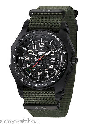 KHS Tactical Men's Military Wristwatch Analog Date C1-Luminous Green Army Strap