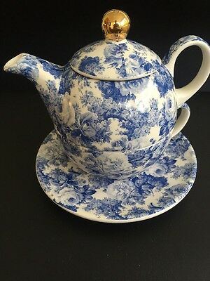 Arthur Wood Blue Floral Chintz Tea Pot For One With Cup & Saucer
