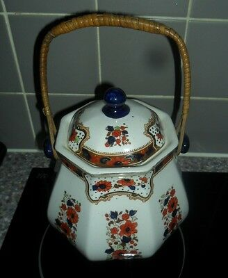 Hand Painted Antique Losol Ware Biscuit Barrel.early backing stamp 1900 to 1915