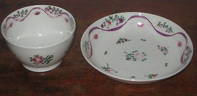 Pretty Regency New Hall Tea Bowl & Saucer Bowl Hand Painted