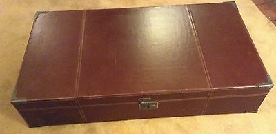 Vintage Brown Leather Wood Lined Trunk - 40x22x8