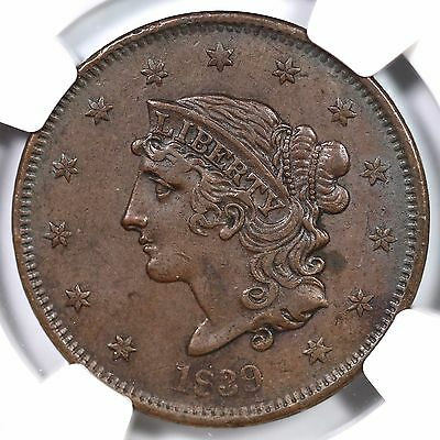 "1839 N-14 NGC XF 45 ""Booby Head"" Matron or Coronet Head Large Cent Coin 1c"