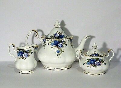 Royal Albert Moonlight Rose Teapot, Sugar and Creamer