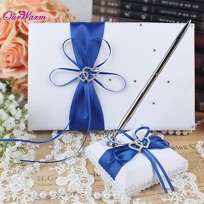 Wedding Guest Book With Pen Sets Satin Bows Signature Book For Party Decorations
