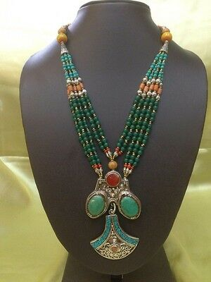 Beautiful Tibetan Handmade Coloured Beads And Ornate Silver Necklace